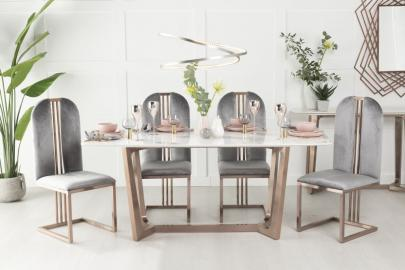 Amara White Marble and Bronze 180cm Dining Table with Calto Grey Chairs