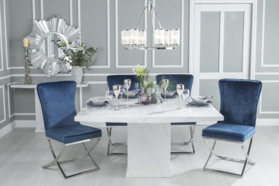 Prague White Marble 140cm Dining Table with Avila Blue Chairs