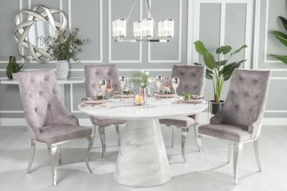 Peyton White Marble Round Dining Table with 4 Casey Beige Knockerback Chairs