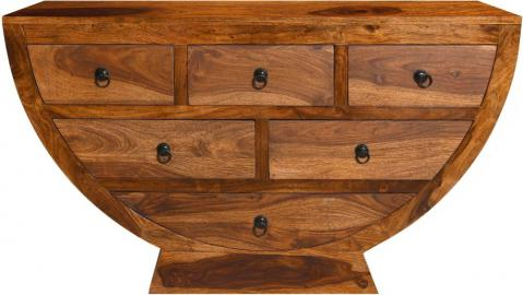 Ganga Indian Sheesham Wood 6 Drawer Half Round Living Room Chest