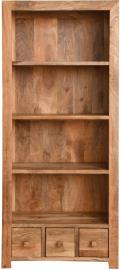 Dakota Indian Mango Wood 3 Drawer Large Bookcase - Light