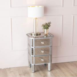 Urban Deco Gatsby Antiqued Mirrored Bedside Cabinet