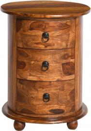 Jali Indian Sheesham Wood 3 Drawer Round Drum Bedside Chest