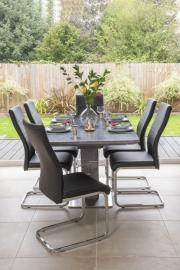 Berlin Grey Ceramic Effect 160cm-200cm Drop Leaf Dining Set with Mercury Taupe Faux Leather Swing Chairs