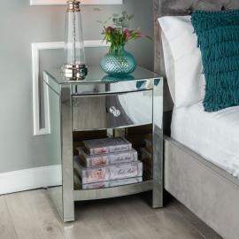 Fiore Mirrored 1 Drawer Bedside Table