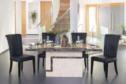Florence Cream Marble Rectangular Dining Set with Nova Black High Back Chairs