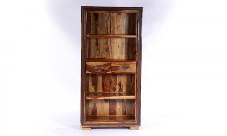 GRANDE Sheesham and Leather Trim 2 Drawer Bookcase