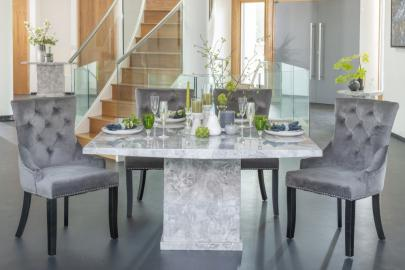 Prague Grey Marble 140cm Square Dining Set with Ellie Grey Velvet Knockerback Chairs