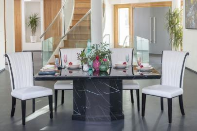 Buy Urban Deco Naples 200cm Black Marble Dining Table with 4 Cadiz White Chairs and Get 2 Extra Chairs Worth £358 For FREE