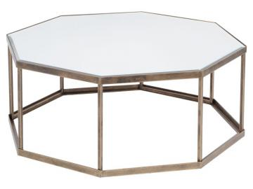 Fulbrook Mirror Top Octagonal Coffee Table in Antique Gold