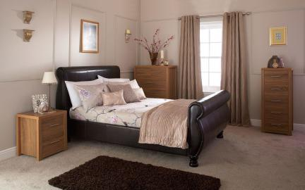 GFW Chicago Brown Faux Leather Sleigh Bed, Double