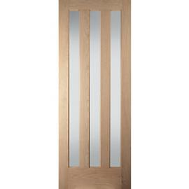 Jeld-Wen Aston Obscure Glazed Oak 3 Lite Internal Door - 1981mm x 762mm