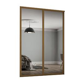 Spacepro 914mm Oak Shaker frame Single panel Mirror Sliding Wardrobe Door Kit