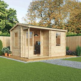 Mercia 4m x 3m 28mm Log Thickness Single Glazed Home Office with Assembly