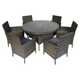 Charles Bentley 6 Seater Rattan Dining Set Grey