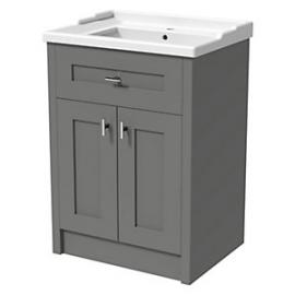 Wickes Hayman Dove Grey Traditional Freestanding Vanity Unit & Basin - 860 x 800mm
