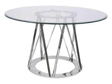 Timo Stainless Steel & Glass Round Dining Table