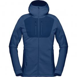 Norrona Damen Lyngen Powerstretch Pro Hooded Jacke (Größe XS, Blau) | Fleecejacken > Damen