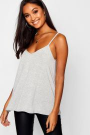 Womens Lockeres Basic Top mit V-Ausschnitt - grey marl - 32, Grey Marl - Boohoo.com