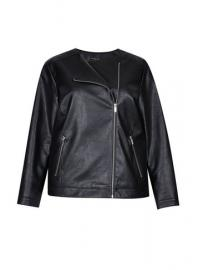 **DP Curve Black PU Collarless Jacket - Dorothy Perkins