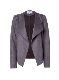 **Tall Grey Suede Waterfall Jacket - Dorothy Perkins