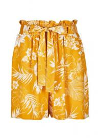 Yellow Leaf Print Tab Shorts - Dorothy Perkins