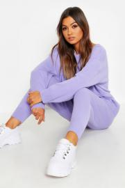 Womens Slash Neck Cropped Knitted Set - lilac - S, Lilac - Boohoo.com
