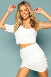 Womens Broderie Anglais Ruched One Shoulder Crop Top - white - 34, White - Boohoo.com