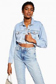 Kurze Jeansjacke im Destroyed-Look - Stone Medium - Topshop