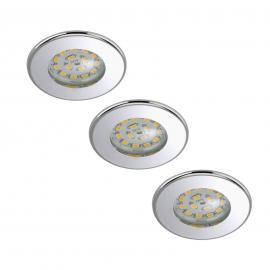 Set van 3 LED inbouwspots Nikas IP44 chroom