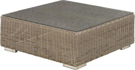 4 Seasons Outdoor Kingston salontafel 95 x 95 x 35 cm. +glas - Pure - Tuinmeubelen