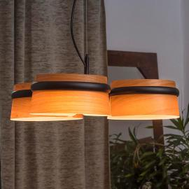 Dimbare LED hanglamp Loop in houten look