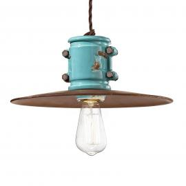 Vintage hanglamp Nicolo in turkoois