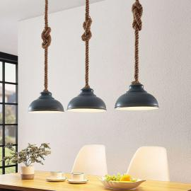 Lindby Chaby hanglamp in betonlook, 3-lamps