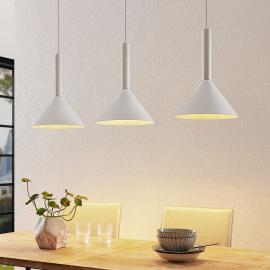 Arcchio Tadej hanglamp, 3-lamps, wit