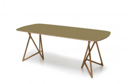 Koza table - Houten eettafel - Naturel - Linoleum tafelblad - Dark Olive - 220 x 90 cm