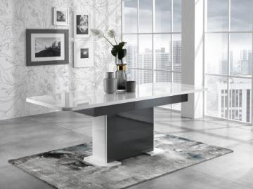 Mesa de comedor extensible PERCEPTION - 6 a 8 comensales - Gris y blanco