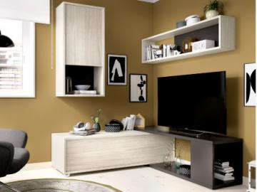 Mueble TV modulable GAMBIE - con compartimentos - Color: antracita y roble