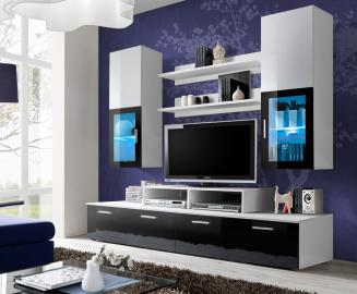 Toledo 2 Black and White high gloss wall unit entertainment center - muebles online