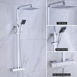 Duschsäule Regendusche Duschpaneel Duschset Duscharmatur Überkopfbrause Silber