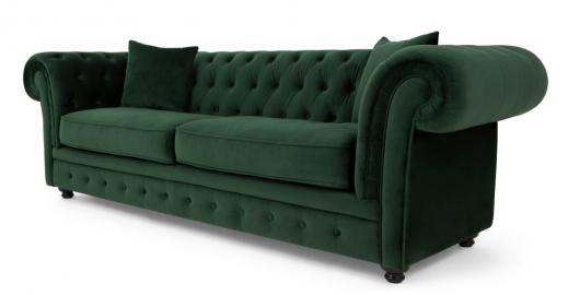Branagh, canapé Chesterfield 3 places, velours vert sapin