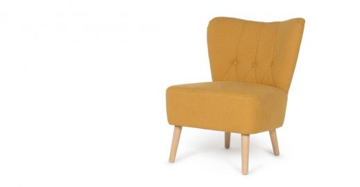 Charley, fauteuil d'appoint, jaune d'or