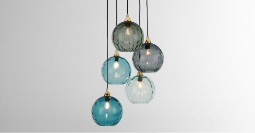 Ilaria, suspension multiple, bleu multicolore et laiton
