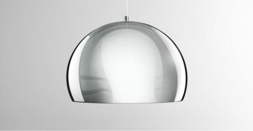 Boule, suspension, chrome et blanc brillant