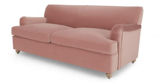 Orson, canapé convertible 3 places, velours rose vintage