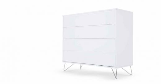 Elona, commode, blanc brillant