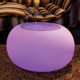 Table d'appoint BUBBLE LED RVB et plateau en verre