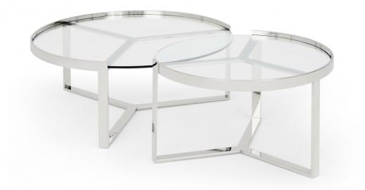Aula, tables basses gigognes, chrome et verre