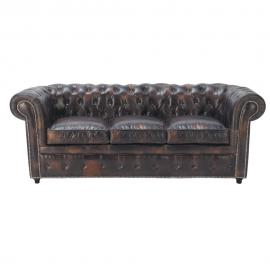 Canapé capitonné 3 places en cuir marron moka Chesterfield