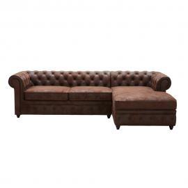 Canapé d'angle droit 5 places en suédine marron Chesterfield